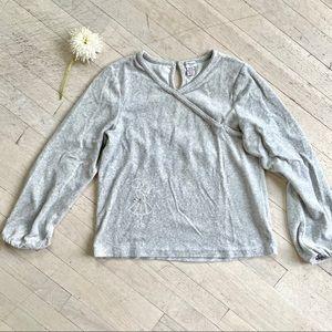 Beautiful CYRILLUS soft velours faux-wrap sweater